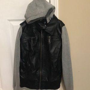 Boy hoodie leather jacket